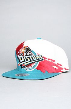 $22 The Detroit Pistons Paintbrush Snapback Hat in Teal & Red by Mitchell & Ness on #karmaloop - Use repcode SMARTCANUCKS for 20% off - http://www.lovekarmaloop.com