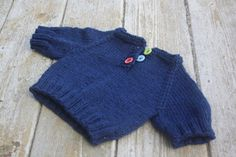 Hand knit newborn baby sweater pull over in navy with buttons 0 to 3 months READY TO SHIP
