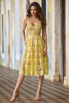 Trending Fashion | Women's Yellow Sunny Lace Dress by Donna Morgan.
