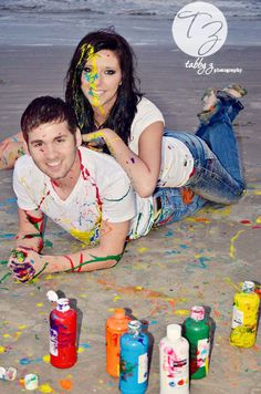 Paint fight, engagement, love