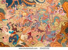 NONTHABURI, THAILAND - JULY 25, 2015 : Ancient Buddhist temple mural painting of…