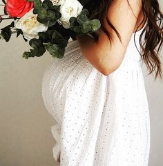 Bun In The Oven, Future Maman, My Pregnancy, Flower Power, Maternity, White Dress, Instagram Posts, Inspiration, Bump