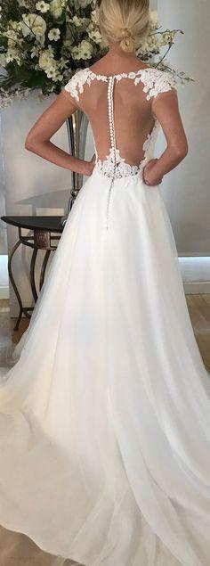 Regan wedding dress by Kelly Faetanini // Alecon lace ball gown with illusion back #weddingdresses #weddinggowns #bridaldress #bride #bridal #bridalgown #brides #weddings
