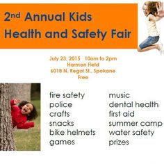 The 2nd Annual Kids Health & Safety Fair is in one week! This event will teach kids all about health and wellness, as well as fire, bike and water safety. There will be free haircuts from Paul Mitchell and free immunizations from Walgreens. Snacks, games, prizes and crafts will be provided! Please join @communityhealthplanwashington at Harmon Park in Spokane for a day of FREE family fun!