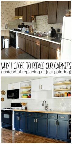 Why I Chose to Reface My Kitchen Cabinets (rather than paint or replace) - Refresh Living - Remodel I've been wanting to replace the cabinet doors in my kitchen. Look at the difference it c - Refacing Cuisine, Refacing Kitchen Cabinets, Kitchen Cupboards, Kitchen Countertops, Soapstone Kitchen, Kitchen Sinks, Kitchen Without Cabinet Doors, Refurbished Kitchen Cabinets, Replacement Kitchen Cabinet Doors