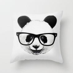 Mr. Panda Throw Pillow by Isaiah K. Stephens - $20.00