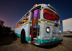 Magic City Bus      aka Light Painters Gone Wild. Multiple pops of strobe through many colored gels. Headlights, running lights and light above door lit with flashlight. Hollywood rentals alumni night 5/5/12.