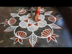 Simple Rangoli Designs Images, Colorful Rangoli Designs, Rangoli Designs Diwali, Beautiful Rangoli Designs, Kolam Designs, Small Rangoli, Flower Rangoli, Rangoli Ideas, Easy Rangoli