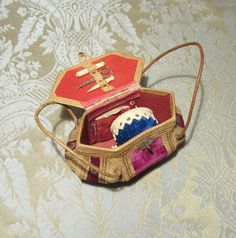 Antique Sewing Necessaire for French Fashion - Leather and Velvet Bombe