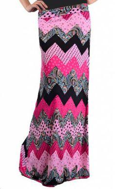 Multiprint Chevron Maxi Skirt