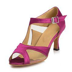 96785db30 Women's Latin Shoes Satin Sandal Buckle Stiletto Heel Non Customizable Dance  Shoes Fuchsia