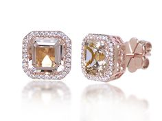 Pink asscher cut diamond halo studs in rose gold.