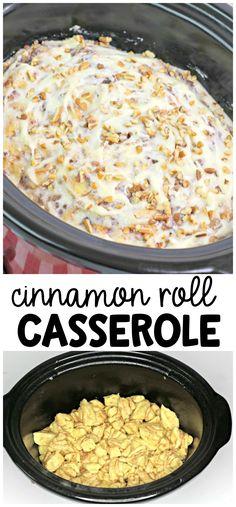 Crockpot Cinnamon Roll Casserole- easy breakfast idea using biscuits dough. Pecan cinnamon roll casserole in a slow cooker. #crockpotbreakfastcasserole