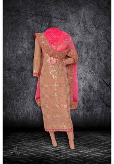 Pretty blush pink and hot pink suit adorn in gota work and jaipuri dupatta