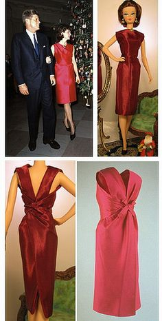Silkstone Barbie in Arina's fashion creations. Jacqueline Kennedy Christmas dress.