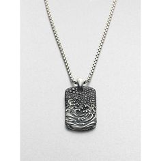 David Yurman Sterling Silver Dogtag Necklace (€2.475) ❤ liked on Polyvore…