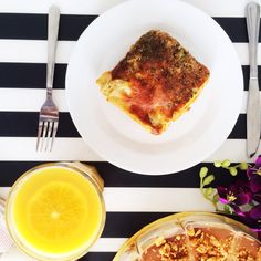 beef lasagna, extra cheese & orange juice & almond salted caramel cake at the ready #lunch