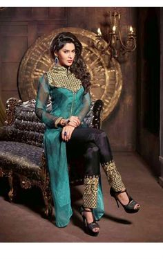 Picture of Classic Cyan Green Color Wonderful Salwar Kameez
