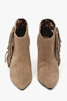 Ziah Fringe Boot - Taupe Suede