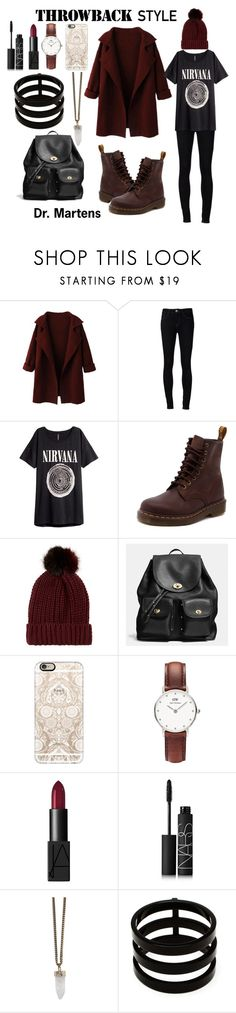 """Dr. Martens"" by duclos-alexandra ❤ liked on Polyvore featuring Ström, H&M, Dr. Martens, River Island, Coach, Casetify, Daniel Wellington, NARS Cosmetics, Givenchy and Repossi"
