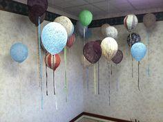 fabric and yarn balloons
