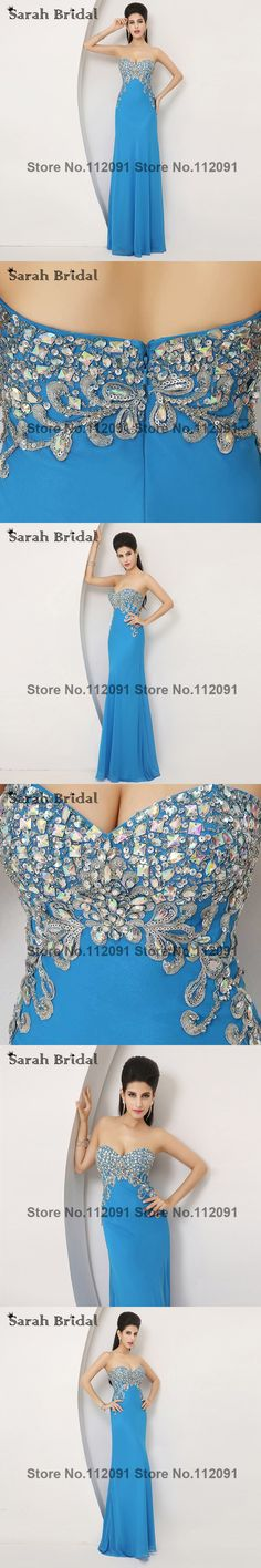 Luxury Chiffon Crystal Long Evening Dresses Women Blue 2015 New Hot Elegant Gold Lace Sequin Evening gowns Sweetheart  AJ002