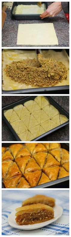 Nadire Atas On Baklava Desserts Baklava - If you've never tried it, it is a must. So easy and everyone will think you have mastered a difficult pastry. (If you like pecan p. Serbian Recipes, Turkish Recipes, Greek Recipes, Greek Desserts, Just Desserts, Dessert Recipes, Comida Armenia, Kolaci I Torte, Middle Eastern Recipes
