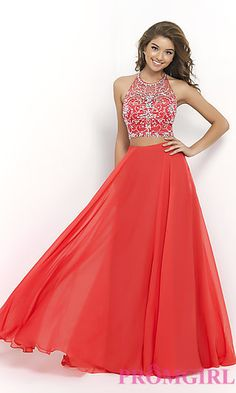 Blush Two Piece Floor Length Prom Dress at PromGirl.com