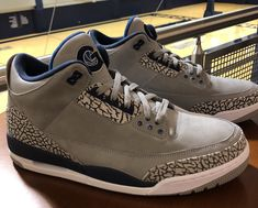The Air Jordan 3 Georgetown Hoyas PE features Grey uppers, Georgetown Hoyas  branding on the