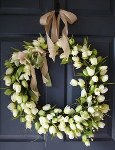 Tulip Wreaths for Front Door, WREATHS, Spring Wreaths, Spring Door Wreath    A remarkable Tulip Wreath that is professionally handcrafted with