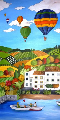Visit the virtual gallery of Ana Sánchez Marín. Buy artworks, originals and prints by artists of painting figurative naïve art. Spanish Artists, Colorful Paintings, Naive Art, Whimsical Art, Beautiful Artwork, Art Lessons, Watercolor Art, Folk Art, Scenery