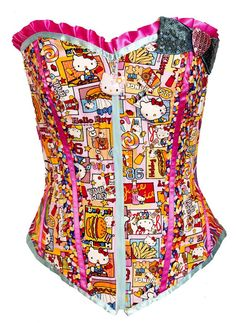 Hello Kitty Junk Food Corset size Medium In stock by kawaiiparlor, cutest damn corset I've ever seen... and the my little pony one... it's a tie. i'm getting both
