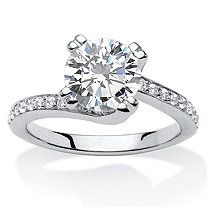2.25 TCW Round Cubic Zirconia Platinum over Sterling Silver Engagement Anniversary Swirled Ring