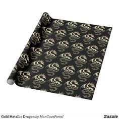 Gold Metallic Dragon Wrapping Paper Gift Wrapping Paper, Custom Wrapping Paper, Note Cards, Colorful Backgrounds, Wraps, Metallic, Dragon, Notes, Prints