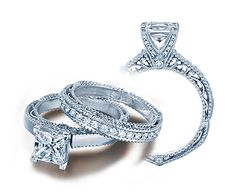 VENETIAN-5009P-3 - VENETIAN-5009P-3 engagement ring from the new Venetian Collection, featuring 0.10ct of pave' set round brilliant-cut diamonds to enhance a princess diamond center.    Available in Gold and Platinum.