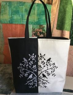 Advanced Embroidery Designs. Black and White Tote Bag with Owl Embroidery  Free Machine Embroidery Designs 3200d697987d3