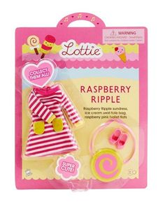 Raspberry Ripple dress outfit for the Lottie doll : see more at http://www.lottie.com/collections/all-products/products/raspberry-ripple-clothes-outfit-for-lottie-doll