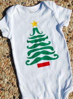 Mustache Christmas Tree Shirt onesie Children Baby Bodysuit onesie mustache baby gift bodysuit shirt tee stache christmas santa naughty nice