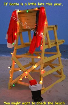 "Box of 12 Handmade Beach Christmas Cards - ""Lifeguard Chair""."