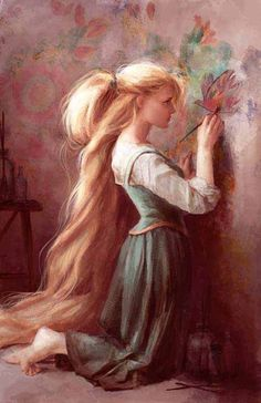 Tangled concept art by Claire Keane. This Rapunzel seems less bubbly, more messy and emotional, more like an average teenage girl. And I really love that.