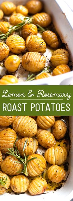 Rosemary and Lemon Roasted Baby Potatoes # Easy Recipes vegetables Easy Method Lemon and Rosemary Roast Potatoes Side Dish Recipes, Veggie Recipes, Vegetarian Recipes, Cooking Recipes, Healthy Recipes, Easy Recipes, Baby Potato Recipes, Quick Recipes For Dinner, Lemon Recipes Dinner