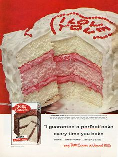 A wonderfully fun vintage Betty Crocker triple layer red, white and pink Valentine's Day cake.