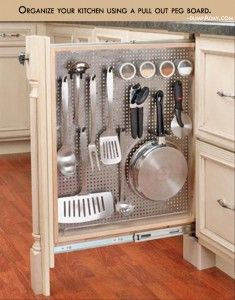Organize your kitchen using a pull out peg board