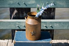 Craft Outlet Milk Can Container with Star Attached. Great as a container for anything you can think of. Antique Milk Can, Vintage Milk Can, Rustic Lodge Decor, Farmhouse Decor, Milk Cans, Milk Jug, Craft Outlet, Collectible Figurines