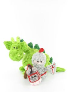 Dibbes the dragon, Sir Roderick and his trusty steed amigurumi crochet pattern by Woolytoons Crochet Teddy, Crochet Dolls, Crochet Baby, Amigurumi Patterns, Amigurumi Doll, Crochet Crafts, Yarn Crafts, Yarn Projects, Sewing