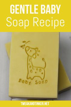 This gentle baby soap recipe is designed for sensitive skin. Filled with skin-loving and soothing ingredients like chamomile, olive oil, shea butter and colloidal oatmeal and lightly scented with essential oils. So dreamy! Handmade Soap Recipes, Soap Making Recipes, Handmade Soaps, Handmade Soap Packaging, Melt And Pour, Gentle Baby, Baby Soap, Honey Soap, Bubble