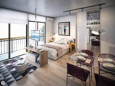 Small Studio Apartment Layout Design Ideas - home design One Room Apartment, Studio Apartment Layout, Small Apartment Interior, Modern Apartment Decor, Small Apartment Design, Studio Apartment Decorating, Apartment Ideas, Studio Layout, Studio Apartment Living