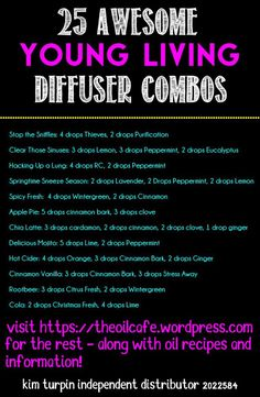 25 awesome oil diffuser combos - The Oil Cafe Young Essential Oils, Essential Oil Uses, Doterra Essential Oils, Natural Essential Oils, Yl Oils, Natural Oils, Healing Oils, Aromatherapy Oils, Essential Oil Diffuser Blends