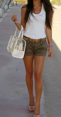 I love my wife; I love this outfit. High heels and shorts by definition create a long-legged look, on anyone. Should make a happy husband, if worn with a smile. I love having a well-dressed wife!