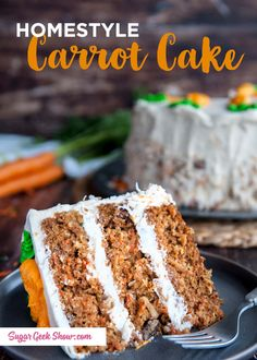 Chunky homestyle carrot cake with pineapple, candied pecans, coconut and lots of carrots! Frosted with tangy cream cheese. My favorite cake to bake for my family! Homemade Carrot Cake, Best Carrot Cake, Candied Pecans, Toasted Pecans, Nut Recipes, Cake Recipes, Recipies, Carrot Cake With Pineapple, Cake Tins